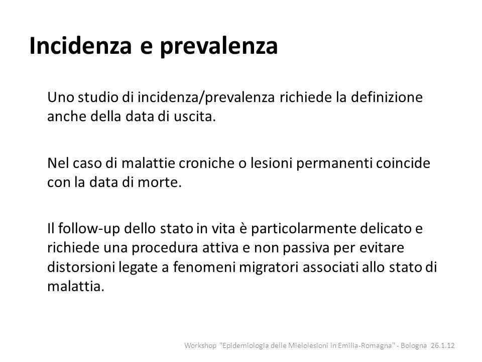 Incidenza e prevalenza Uno studio di incidenza/prevalenza richiede la definizione anche della data di uscita. Nel caso di malattie croniche o lesioni