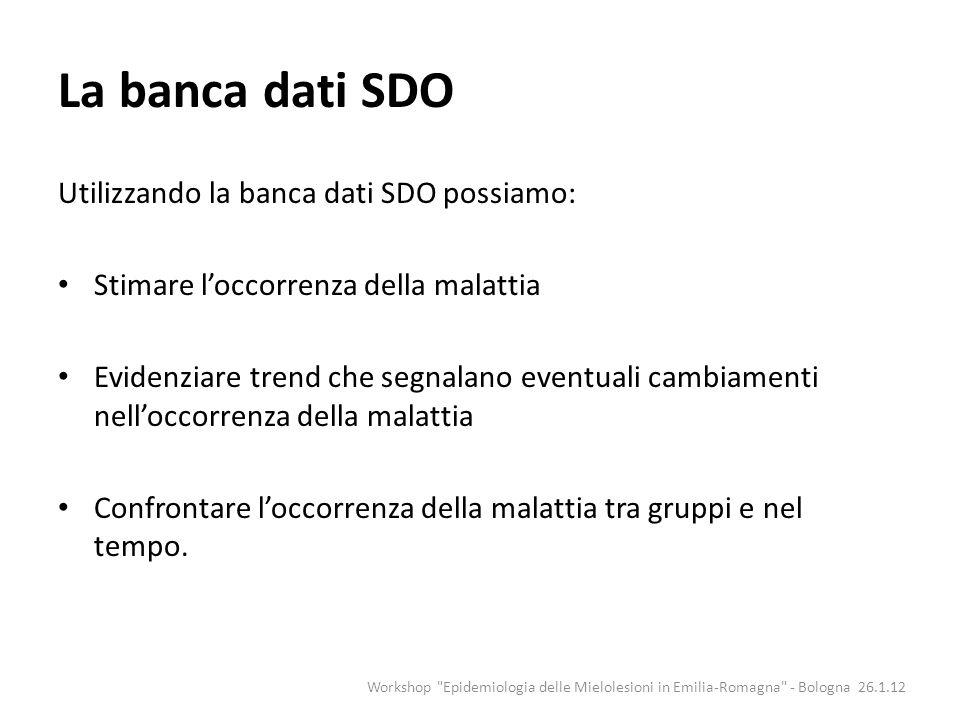 La banca dati SDO Utilizzando la banca dati SDO possiamo: Stimare loccorrenza della malattia Evidenziare trend che segnalano eventuali cambiamenti nel