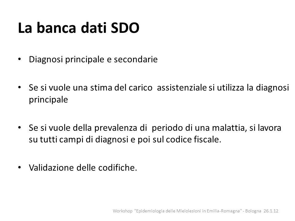 La banca dati SDO Diagnosi principale e secondarie Se si vuole una stima del carico assistenziale si utilizza la diagnosi principale Se si vuole della
