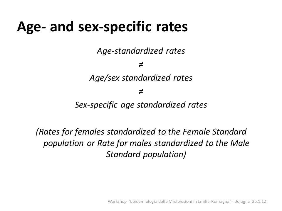 Age-standardized rates Age/sex standardized rates Sex-specific age standardized rates (Rates for females standardized to the Female Standard populatio