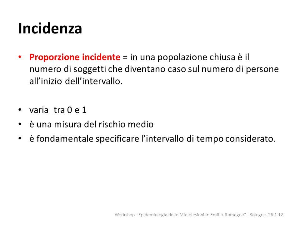 Incidenza Workshop Epidemiologia delle Mielolesioni in Emilia-Romagna - Bologna 26.1.12 Inizio del follow upFine del follow up Perso al follow up Evento Tasso di incidenza = 2/(10+10+2+8+6+10)= 2/46= 0.04348 casi per 1-persona = 43.48 casi per 1000 anni-persona Proporzione incidente = 0.33