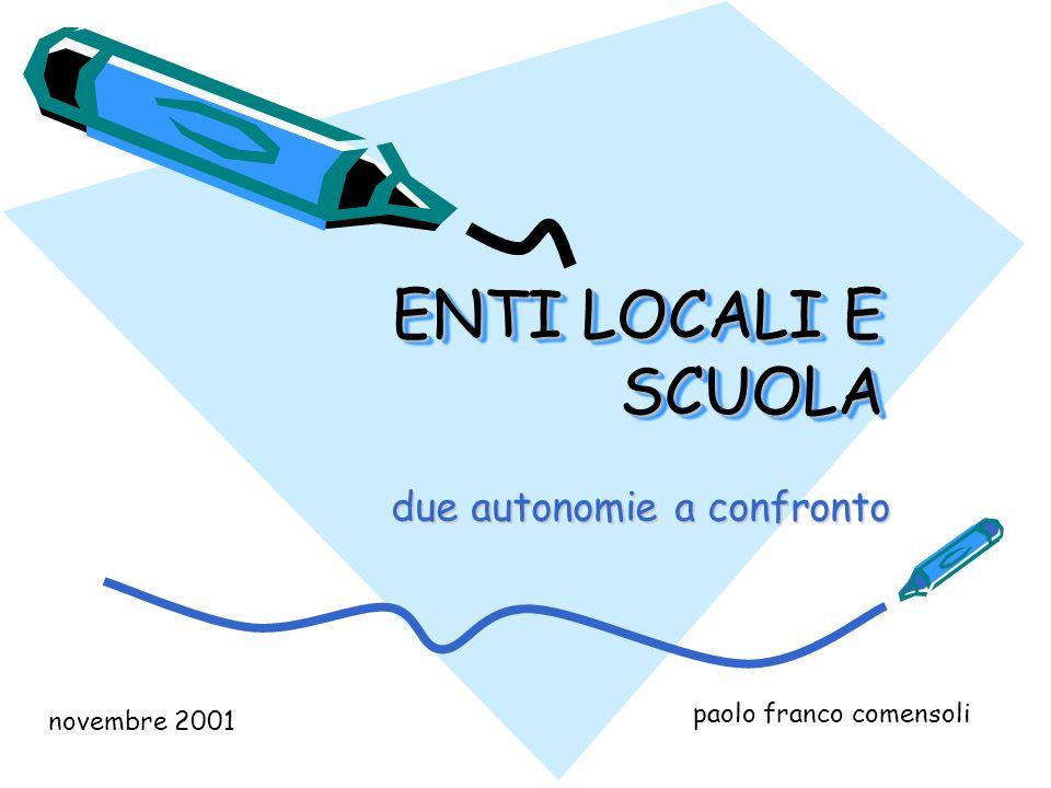 ENTI LOCALI E SCUOLA due autonomie a confronto paolo franco comensoli novembre 2001