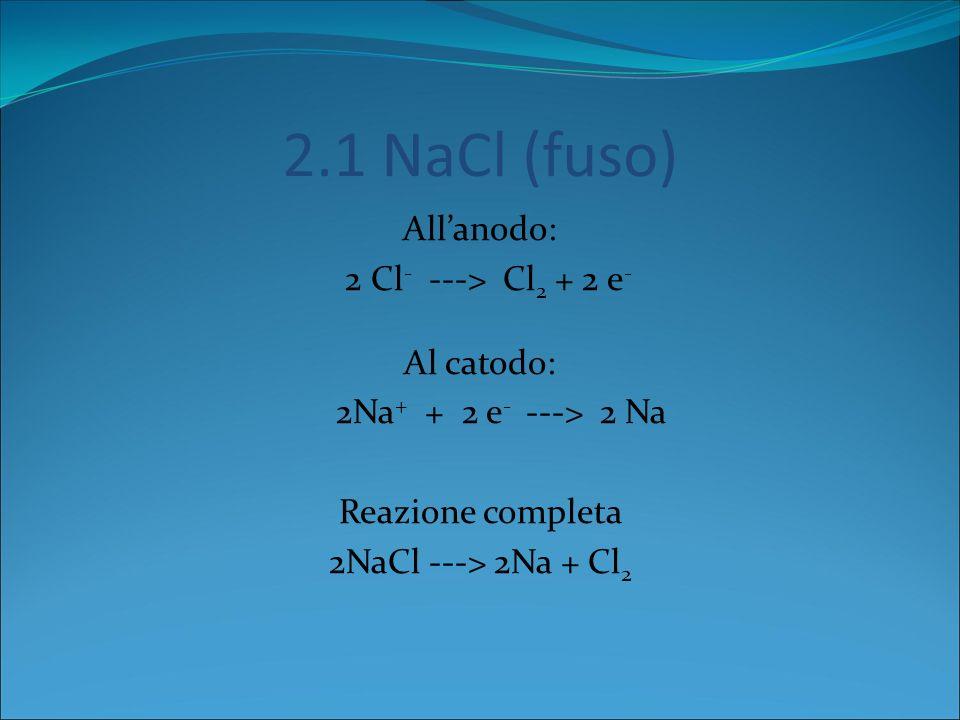 Elettroliti 1) 1) Elettrolita Fuso (NaCl) 2) Soluzione Acquosa di NaCl 3) Soluzione Acquosa di Solfato di Sodio