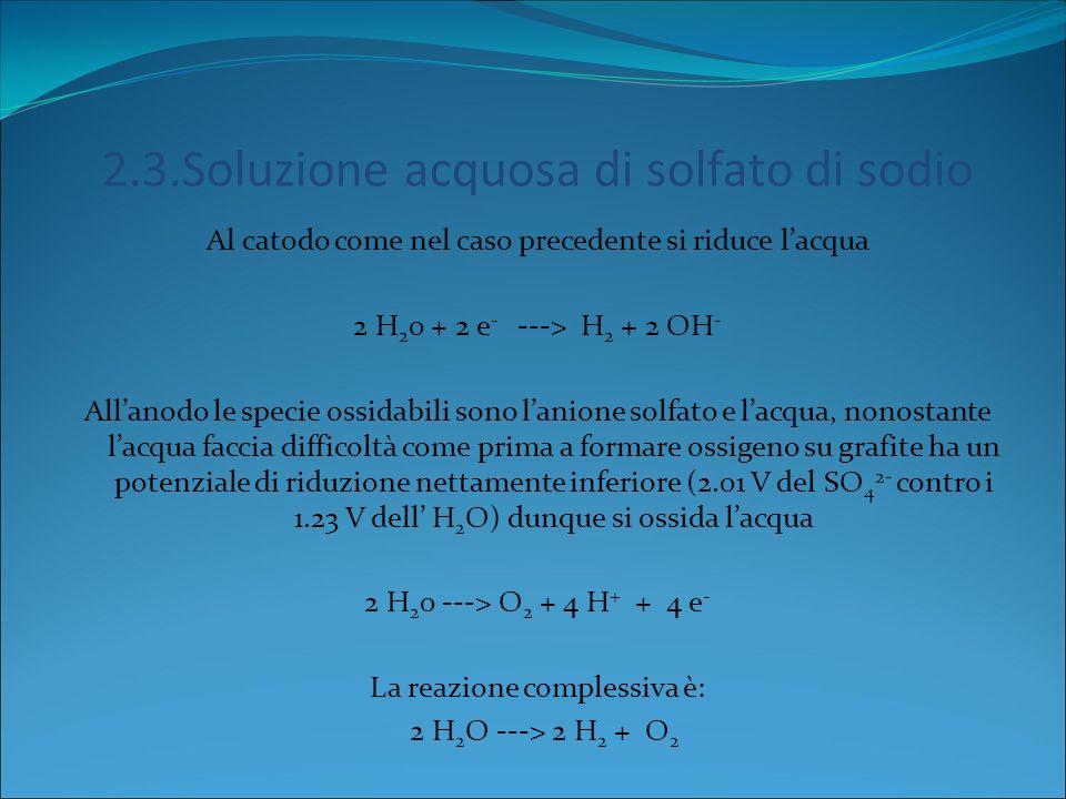 2.2.Soluzione acquosa di NaCl Consideriamo 2 elettrodi di grafite allinterno di una soluzione di NaCl in acqua: Al catodo: possono ridursi sia lacqua