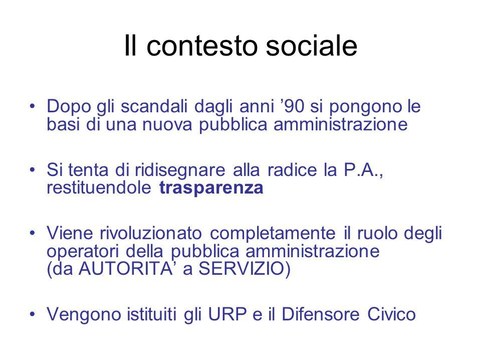 Il contesto sociale Dopo gli scandali dagli anni 90 si pongono le basi di una nuova pubblica amministrazione Si tenta di ridisegnare alla radice la P.