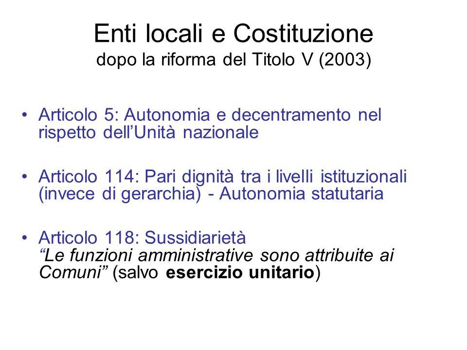 Enti locali e Costituzione dopo la riforma del Titolo V (2003) Articolo 5: Autonomia e decentramento nel rispetto dellUnità nazionale Articolo 114: Pa