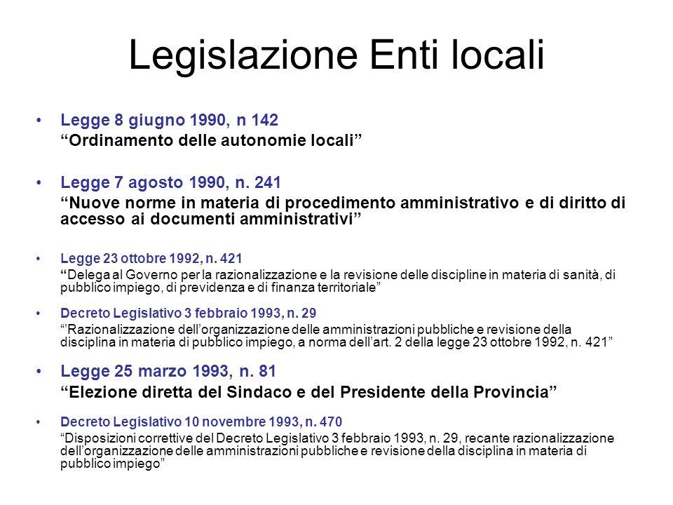 Legislazione Enti locali Legge 8 giugno 1990, n 142 Ordinamento delle autonomie locali Legge 7 agosto 1990, n. 241 Nuove norme in materia di procedime