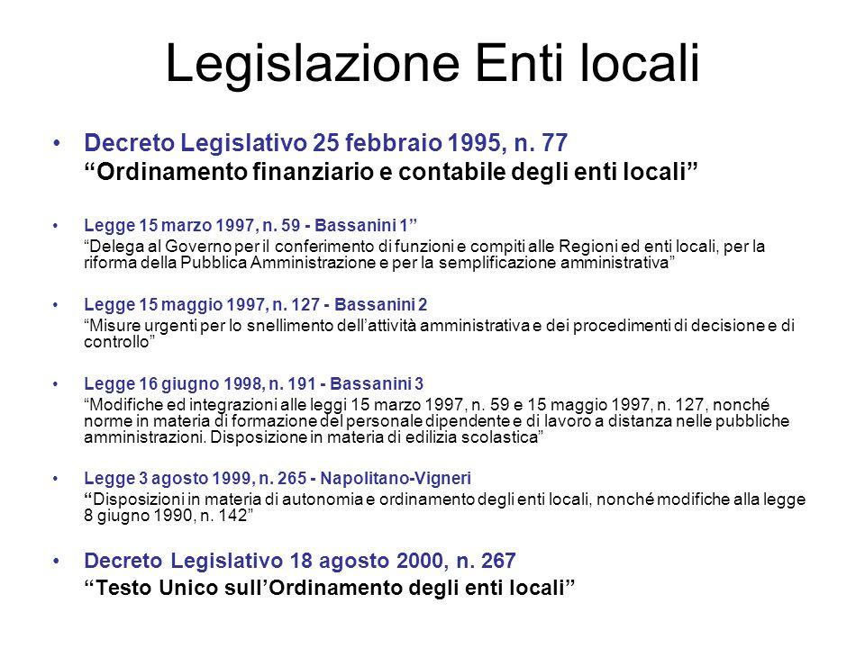 Legislazione Enti locali Decreto Legislativo 25 febbraio 1995, n. 77 Ordinamento finanziario e contabile degli enti locali Legge 15 marzo 1997, n. 59