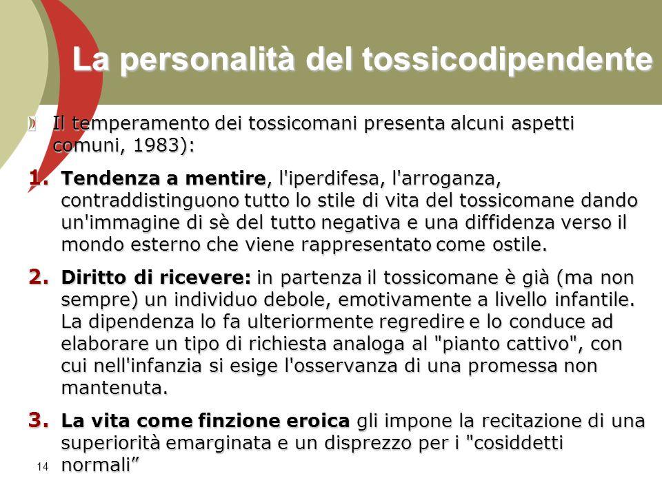 La personalità del tossicodipendente Il temperamento dei tossicomani presenta alcuni aspetti comuni, 1983): 1. Tendenza a mentire, l'iperdifesa, l'arr