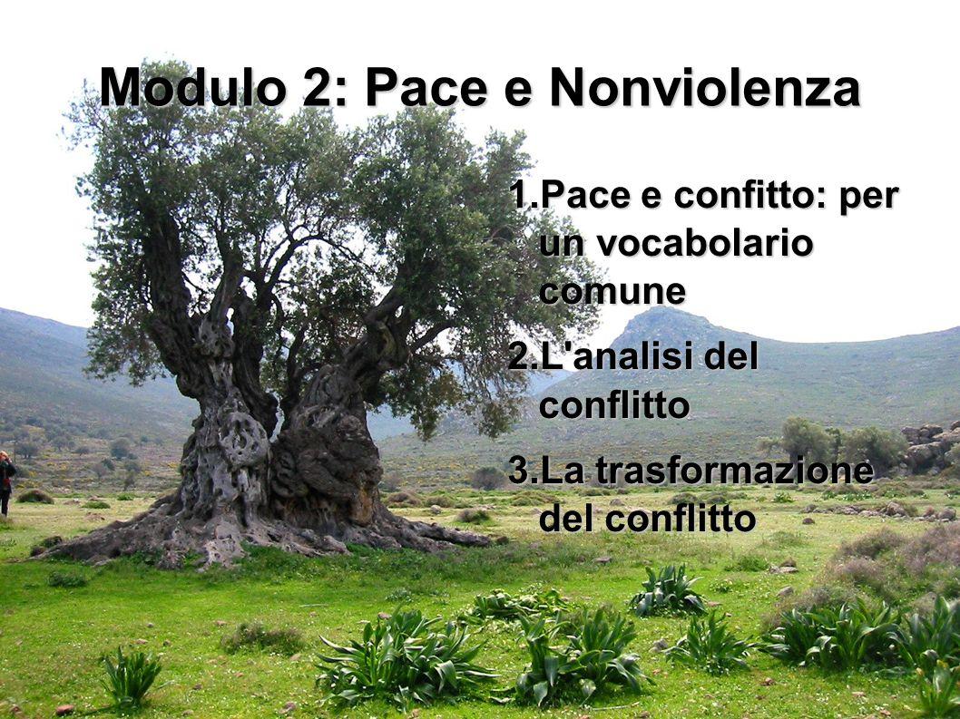 1 Modulo 2: Pace e Nonviolenza 1.Pace e confitto: per un vocabolario comune 2.L'analisi del conflitto 3.La trasformazione del conflitto