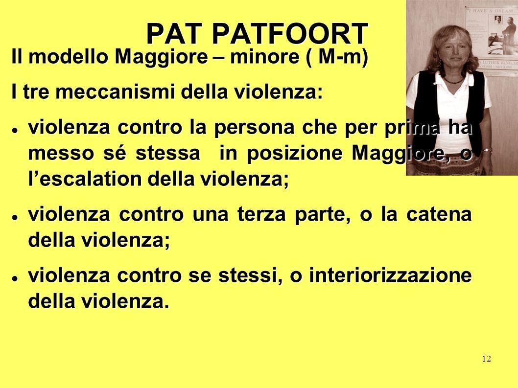 12 PAT PATFOORT Il modello Maggiore – minore ( M-m) I tre meccanismi della violenza: violenza contro la persona che per prima ha messo sé stessa in po