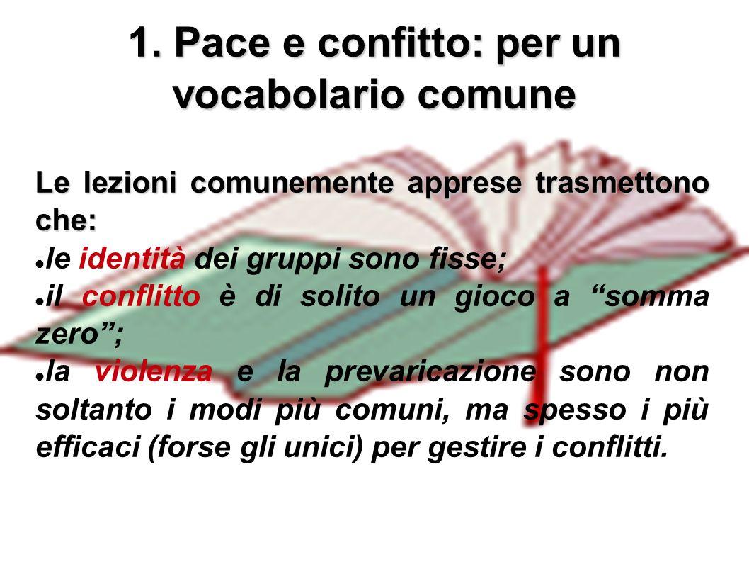 2 1. Pace e confitto: per un vocabolario comune Le lezioni comunemente apprese trasmettono che: le identità dei gruppi sono fisse; il conflitto è di s