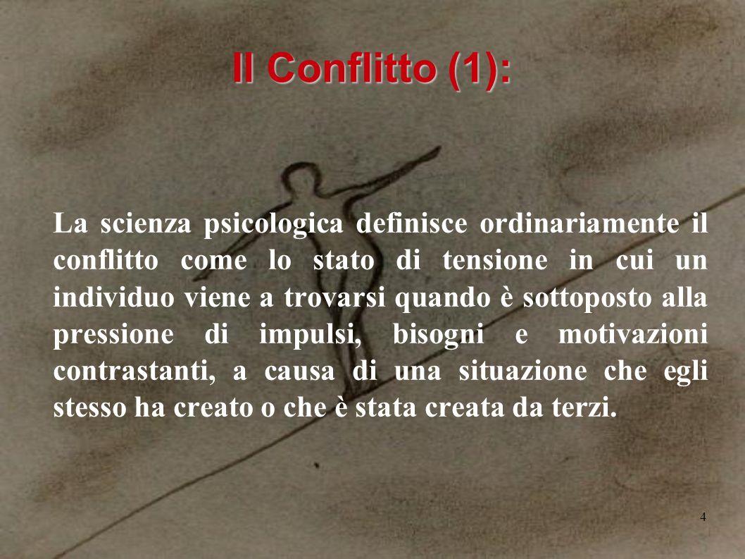 4 Il Conflitto (1): La scienza psicologica definisce ordinariamente il conflitto come lo stato di tensione in cui un individuo viene a trovarsi quando