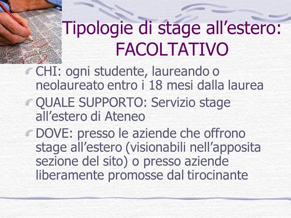 Tipologie di stage allestero: CONVENZIONALE DEFINIZIONE: è lo stage avviato allinterno di convenzioni del Programma Leonardo e del Programma Tirocini Min Affari Esteri-Univ.