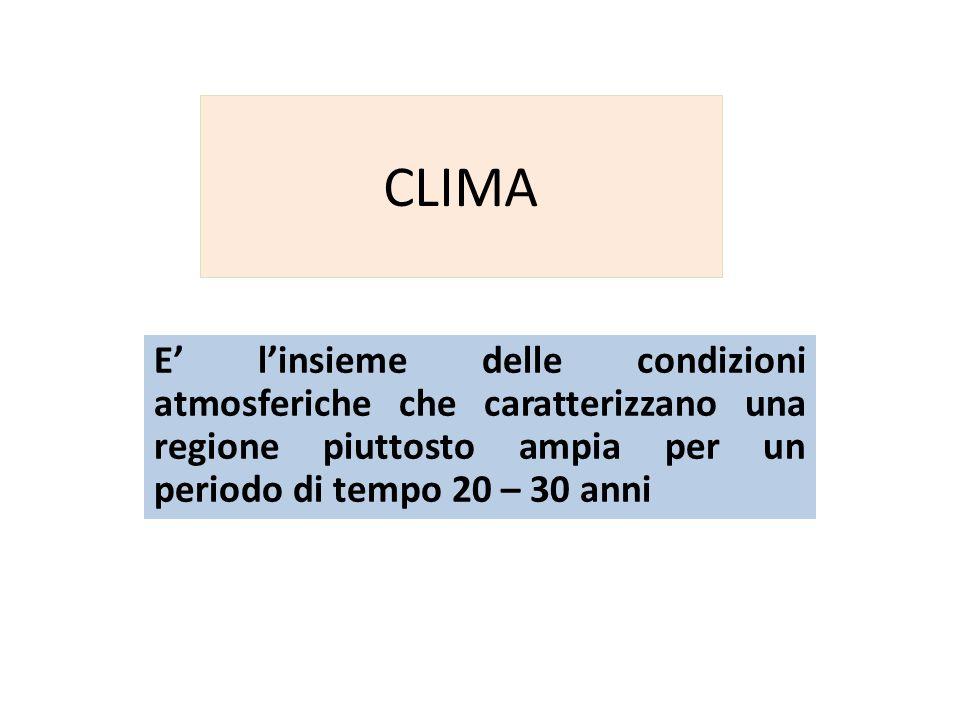 CLIMA E linsieme delle condizioni atmosferiche che caratterizzano una regione piuttosto ampia per un periodo di tempo 20 – 30 anni