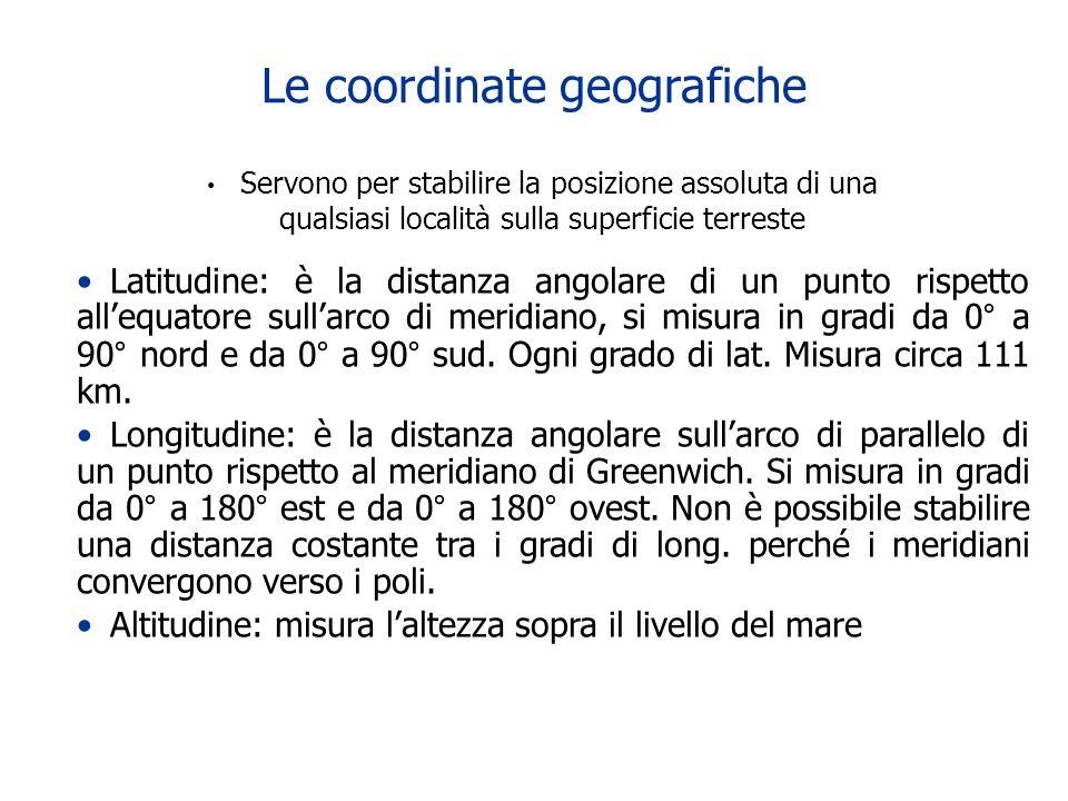 Le coordinate geografiche Servono per stabilire la posizione assoluta di una qualsiasi località sulla superficie terreste Latitudine: è la distanza an