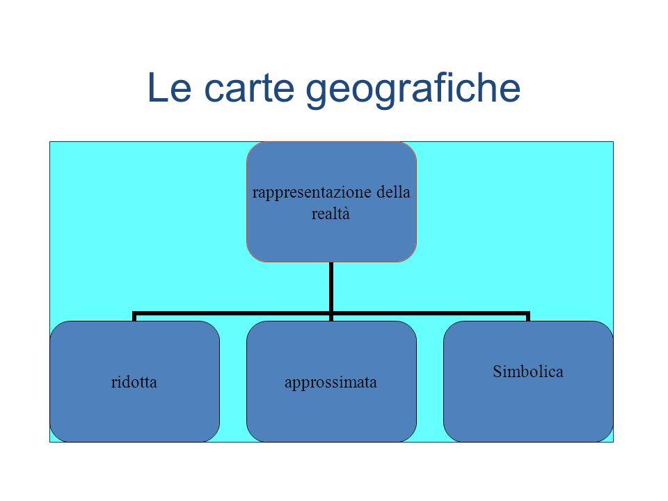 Ridotta: scala di riduzione Approssimata: poiché non è possibile riportare la superficie di un sfera su un piano, ogni rappresentazione della superficie terrestre deve essere più o meno deformata.