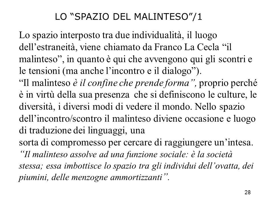 28 LO SPAZIO DEL MALINTESO/1 Lo spazio interposto tra due individualità, il luogo dellestraneità, viene chiamato da Franco La Cecla il malinteso, in q