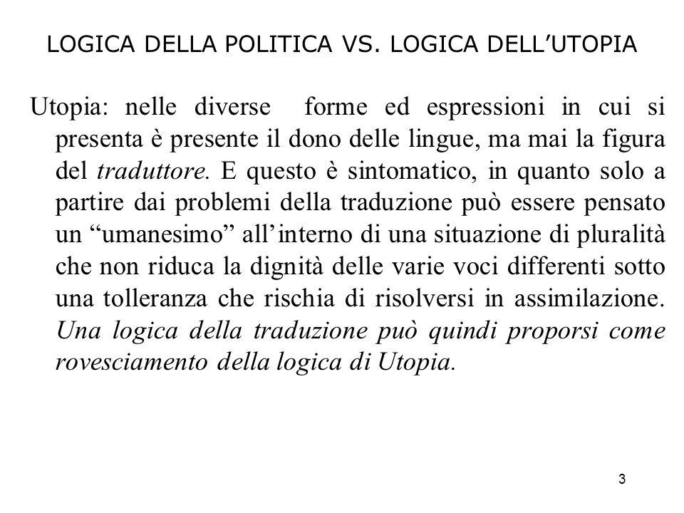 3 LOGICA DELLA POLITICA VS. LOGICA DELLUTOPIA Utopia: nelle diverse forme ed espressioni in cui si presenta è presente il dono delle lingue, ma mai la