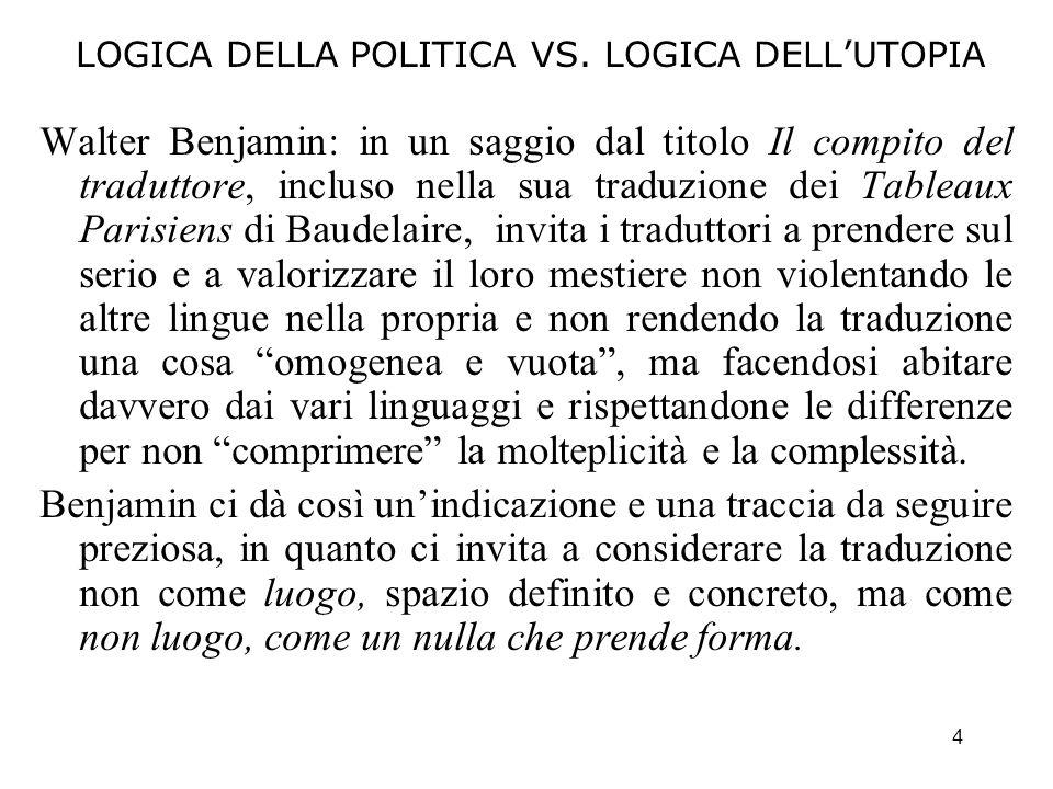 4 LOGICA DELLA POLITICA VS. LOGICA DELLUTOPIA Walter Benjamin: in un saggio dal titolo Il compito del traduttore, incluso nella sua traduzione dei Tab