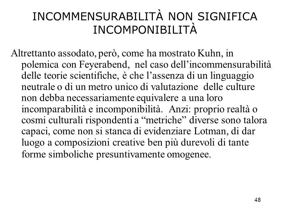 48 INCOMMENSURABILITÀ NON SIGNIFICA INCOMPONIBILITÀ Altrettanto assodato, però, come ha mostrato Kuhn, in polemica con Feyerabend, nel caso dellincomm