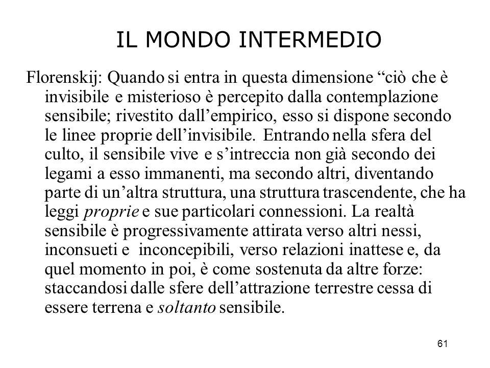 61 IL MONDO INTERMEDIO Florenskij: Quando si entra in questa dimensione ciò che è invisibile e misterioso è percepito dalla contemplazione sensibile;
