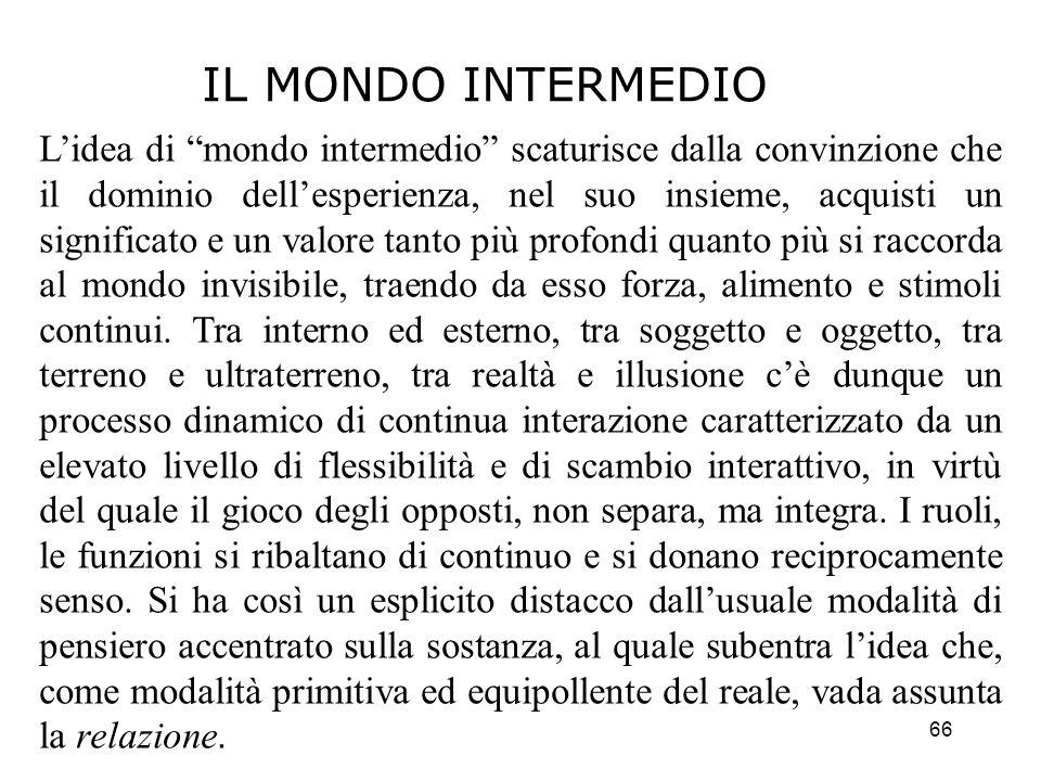 66 Lidea di mondo intermedio scaturisce dalla convinzione che il dominio dellesperienza, nel suo insieme, acquisti un significato e un valore tanto pi