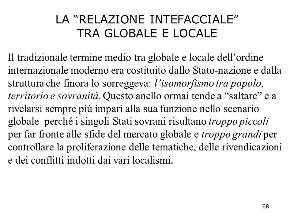 68 LA RELAZIONE INTEFACCIALE TRA GLOBALE E LOCALE Il tradizionale termine medio tra globale e locale dellordine internazionale moderno era costituito