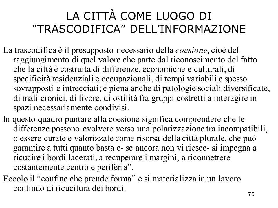 75 LA CITTÀ COME LUOGO DI TRASCODIFICA DELLINFORMAZIONE La trascodifica è il presupposto necessario della coesione, cioè del raggiungimento di quel va