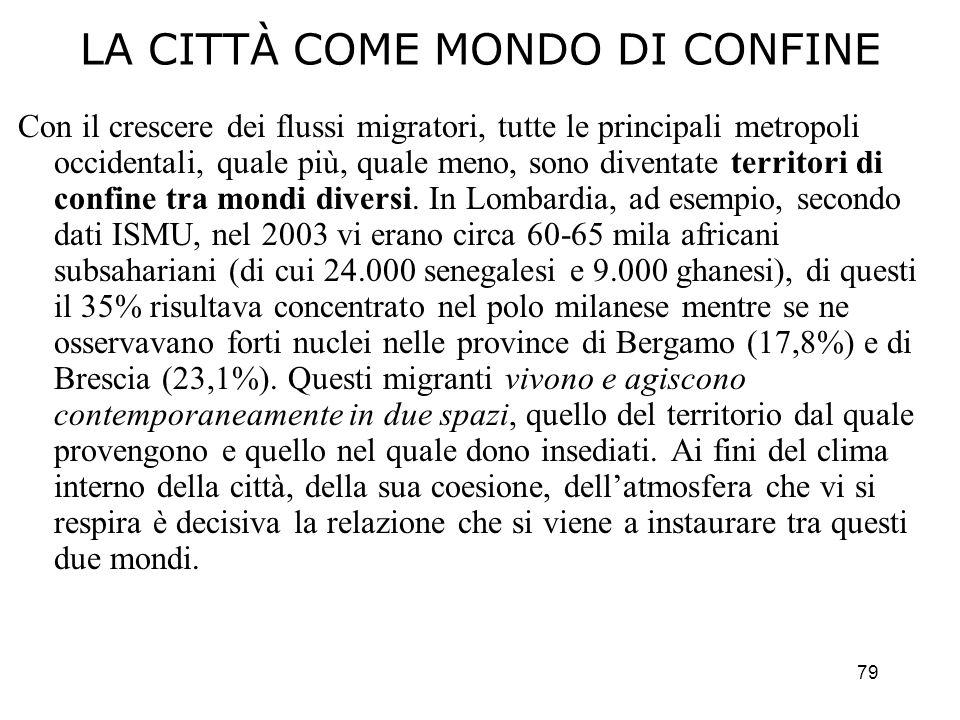 79 LA CITTÀ COME MONDO DI CONFINE Con il crescere dei flussi migratori, tutte le principali metropoli occidentali, quale più, quale meno, sono diventa