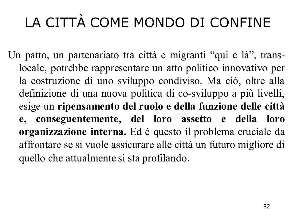 82 LA CITTÀ COME MONDO DI CONFINE Un patto, un partenariato tra città e migranti qui e là, trans- locale, potrebbe rappresentare un atto politico inno