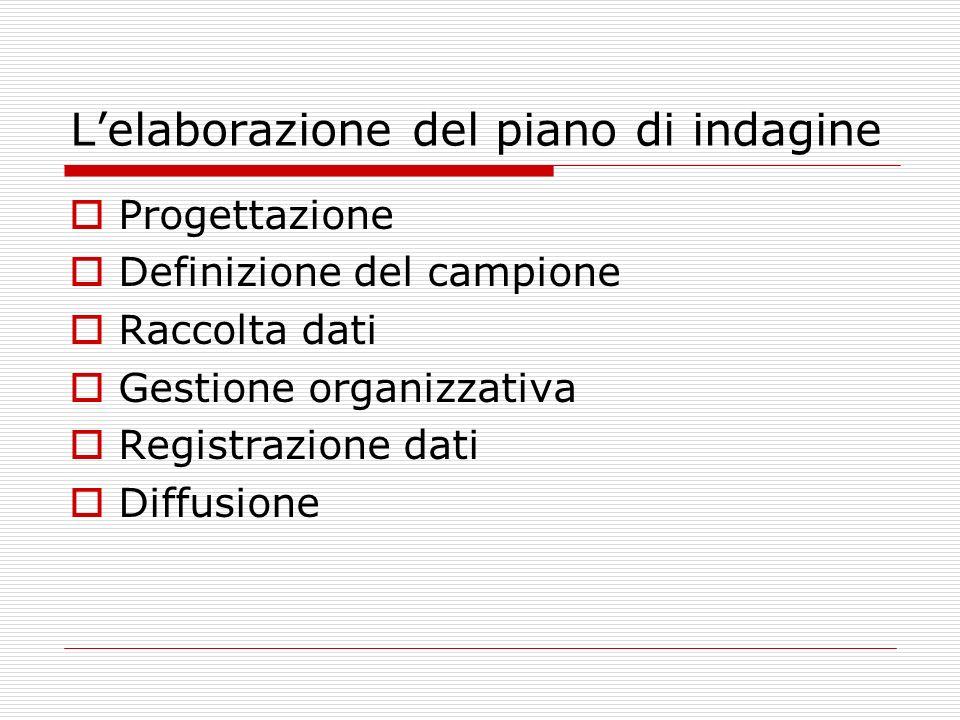 Lelaborazione del piano di indagine Progettazione Definizione del campione Raccolta dati Gestione organizzativa Registrazione dati Diffusione