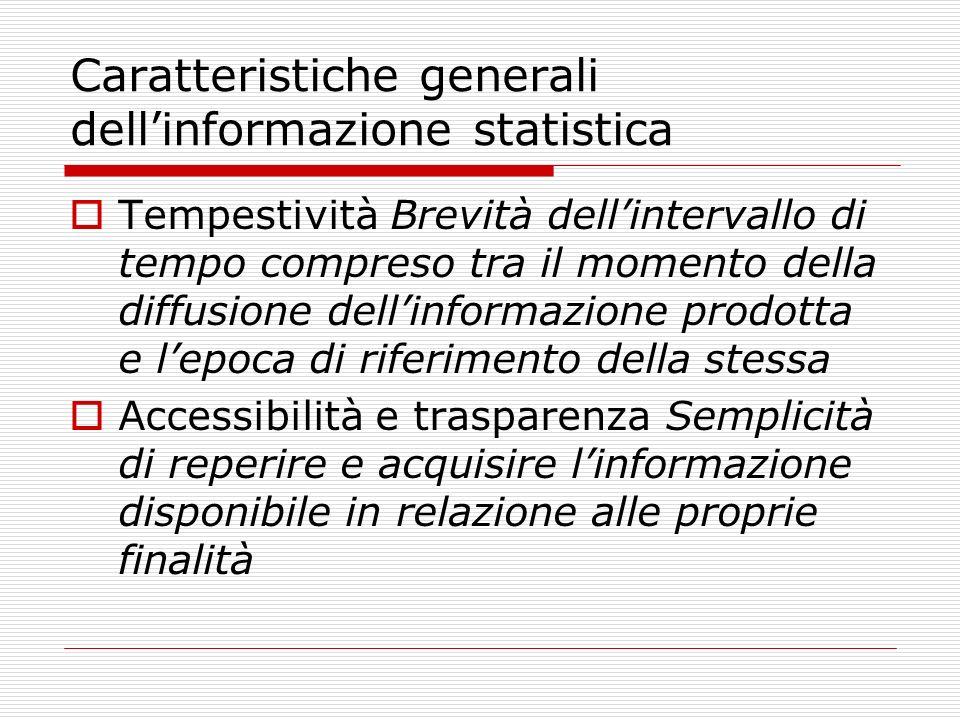 Caratteristiche generali dellinformazione statistica Tempestività Brevità dellintervallo di tempo compreso tra il momento della diffusione dellinforma
