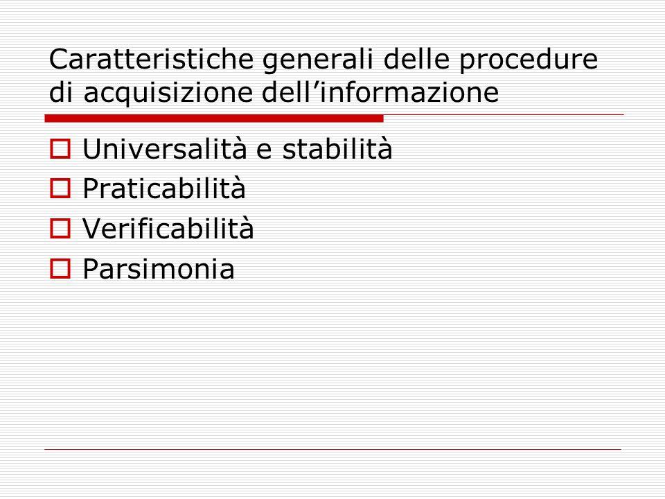 Caratteristiche generali delle procedure di acquisizione dellinformazione Universalità e stabilità Praticabilità Verificabilità Parsimonia