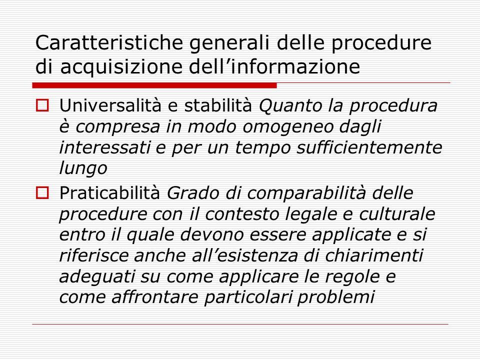 Caratteristiche generali delle procedure di acquisizione dellinformazione Universalità e stabilità Quanto la procedura è compresa in modo omogeneo dag