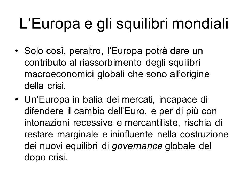 LEuropa e gli squilibri mondiali Solo così, peraltro, lEuropa potrà dare un contributo al riassorbimento degli squilibri macroeconomici globali che sono allorigine della crisi.