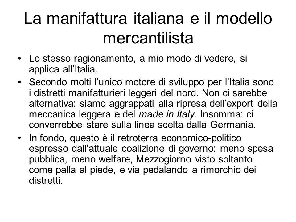 La manifattura italiana e il modello mercantilista Lo stesso ragionamento, a mio modo di vedere, si applica allItalia.