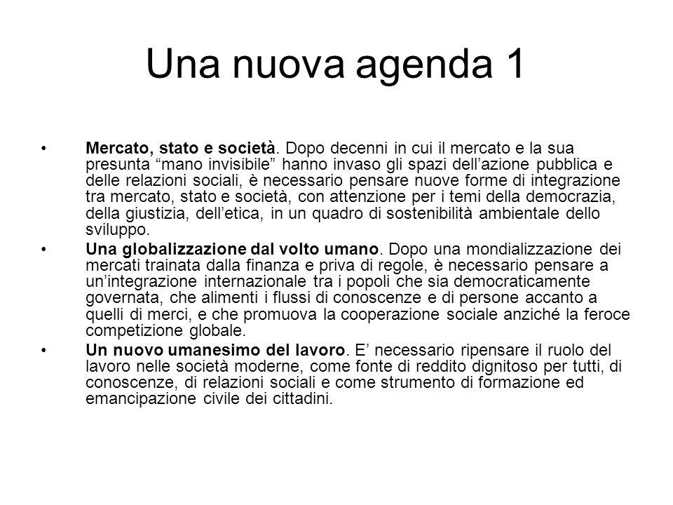 Una nuova agenda 1 Mercato, stato e società.