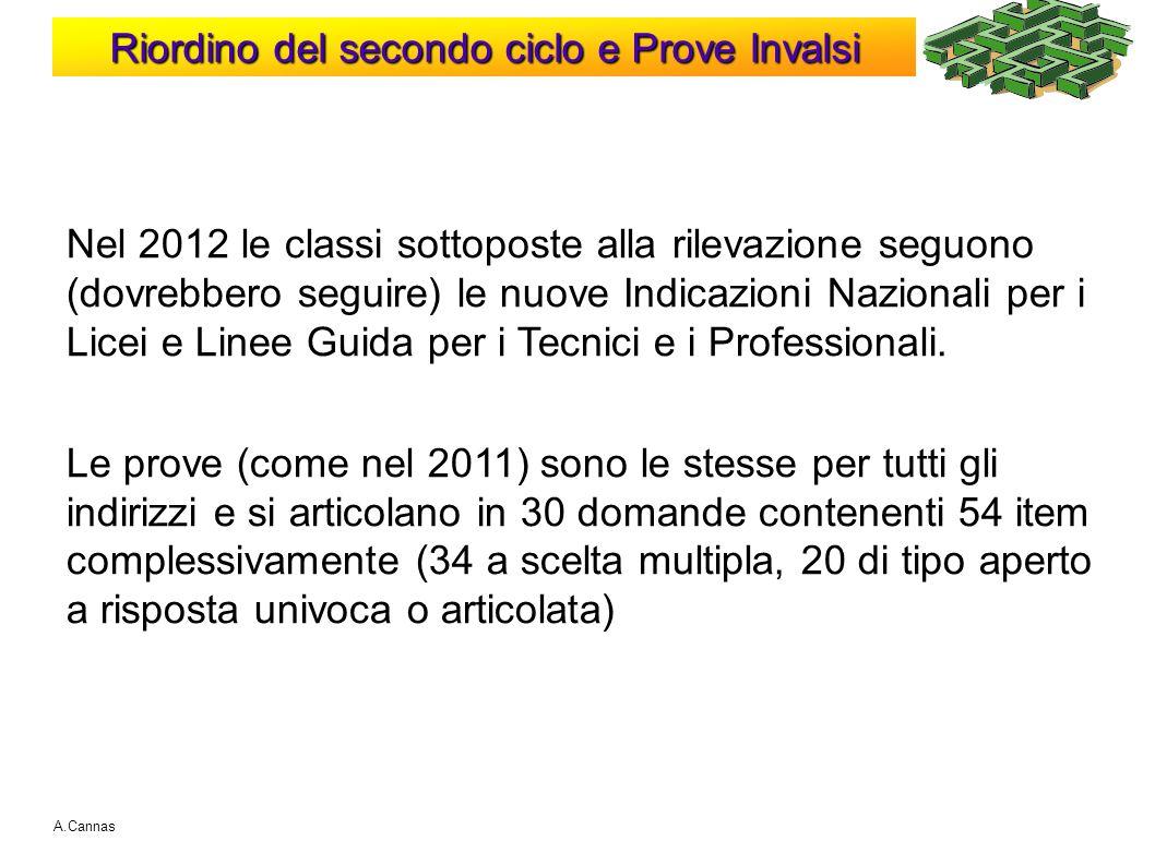Riordino del secondo ciclo e Prove Invalsi A.Cannas Nel 2012 le classi sottoposte alla rilevazione seguono (dovrebbero seguire) le nuove Indicazioni N