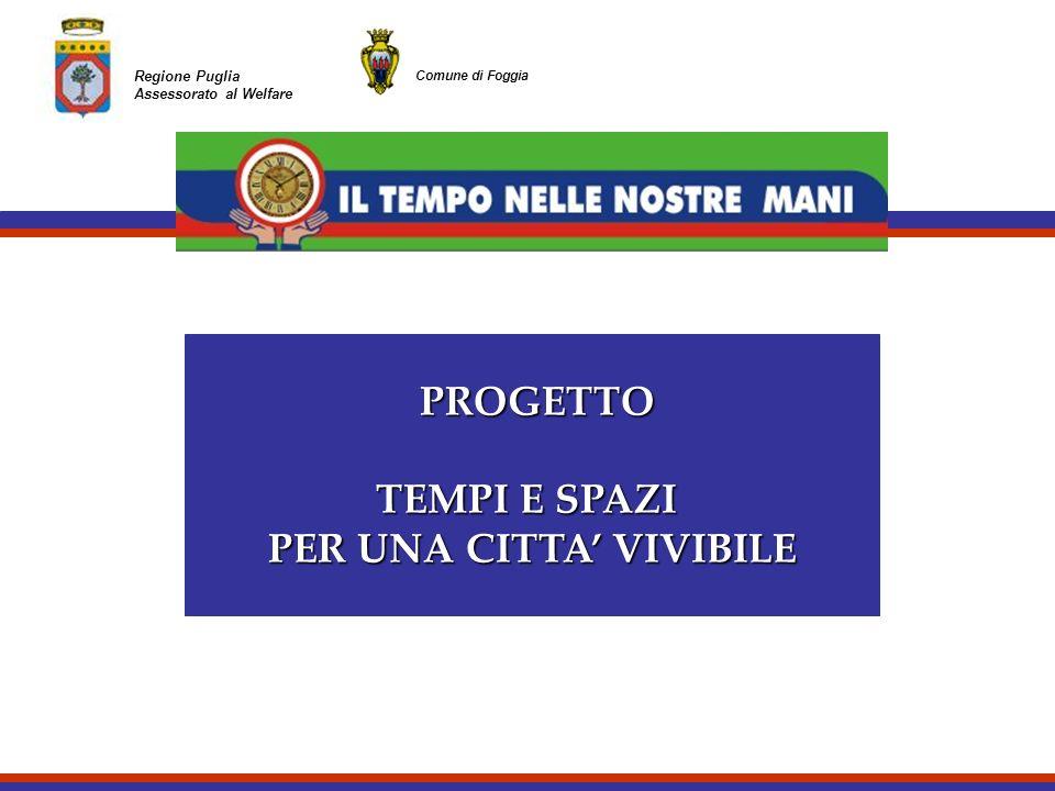 Regione Puglia Assessorato al Welfare Comune di Foggia PROGETTO PROGETTO TEMPI E SPAZI PER UNA CITTA VIVIBILE