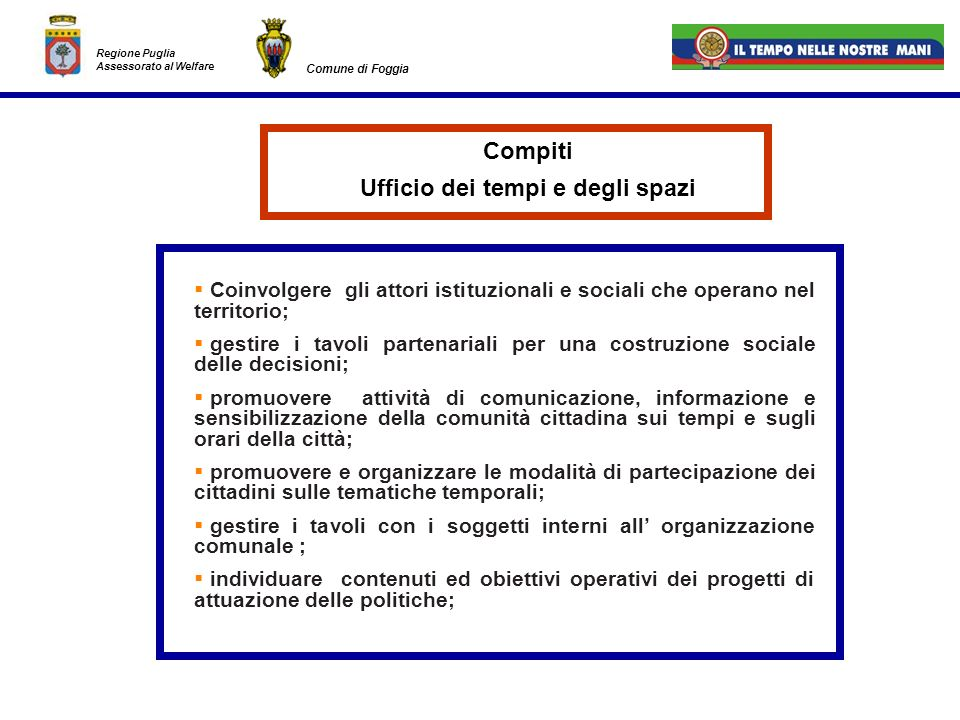 Regione Puglia Assessorato al Welfare Comune di Foggia Coinvolgere gli attori istituzionali e sociali che operano nel territorio; gestire i tavoli par