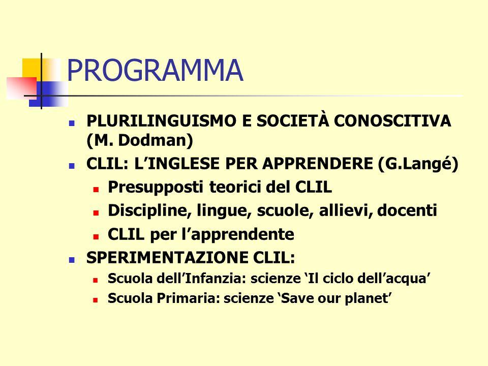 PROGRAMMA PLURILINGUISMO E SOCIETÀ CONOSCITIVA (M. Dodman) CLIL: LINGLESE PER APPRENDERE (G.Langé) Presupposti teorici del CLIL Discipline, lingue, sc