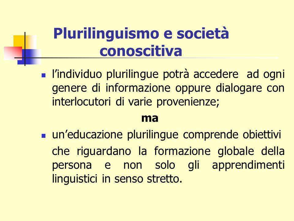 lindividuo plurilingue potrà accedere ad ogni genere di informazione oppure dialogare con interlocutori di varie provenienze; ma uneducazione plurilingue comprende obiettivi che riguardano la formazione globale della persona e non solo gli apprendimenti linguistici in senso stretto.