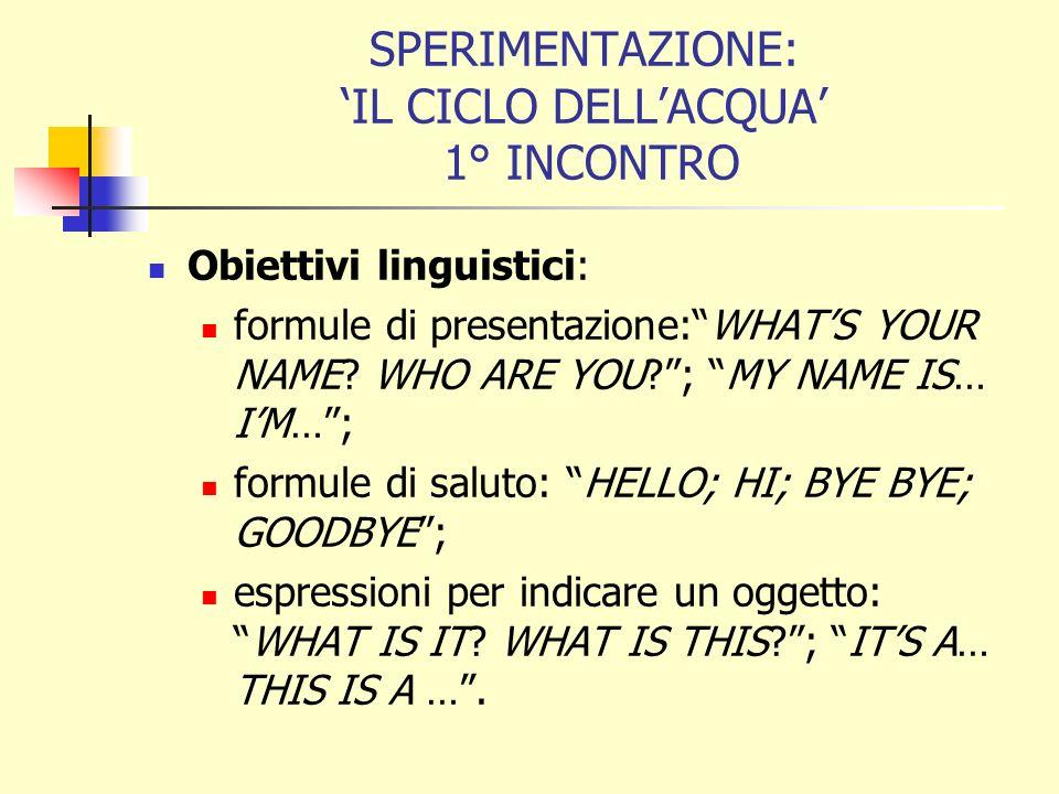 SPERIMENTAZIONE: IL CICLO DELLACQUA 1° INCONTRO Obiettivi linguistici: formule di presentazione:WHATS YOUR NAME.