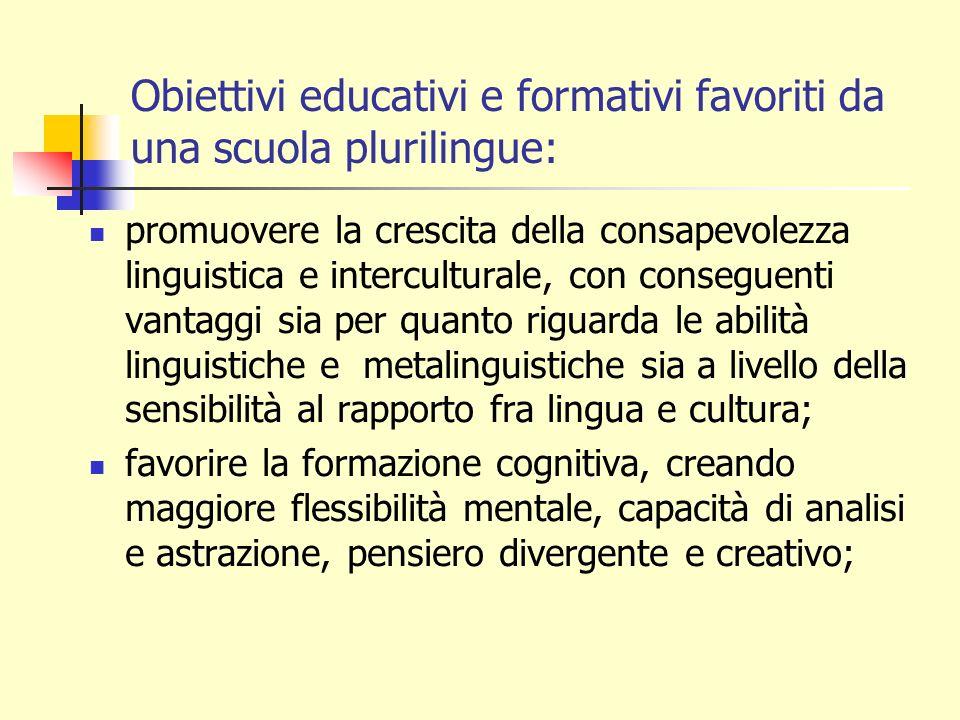 Obiettivi educativi e formativi favoriti da una scuola plurilingue: promuovere la crescita della consapevolezza linguistica e interculturale, con cons