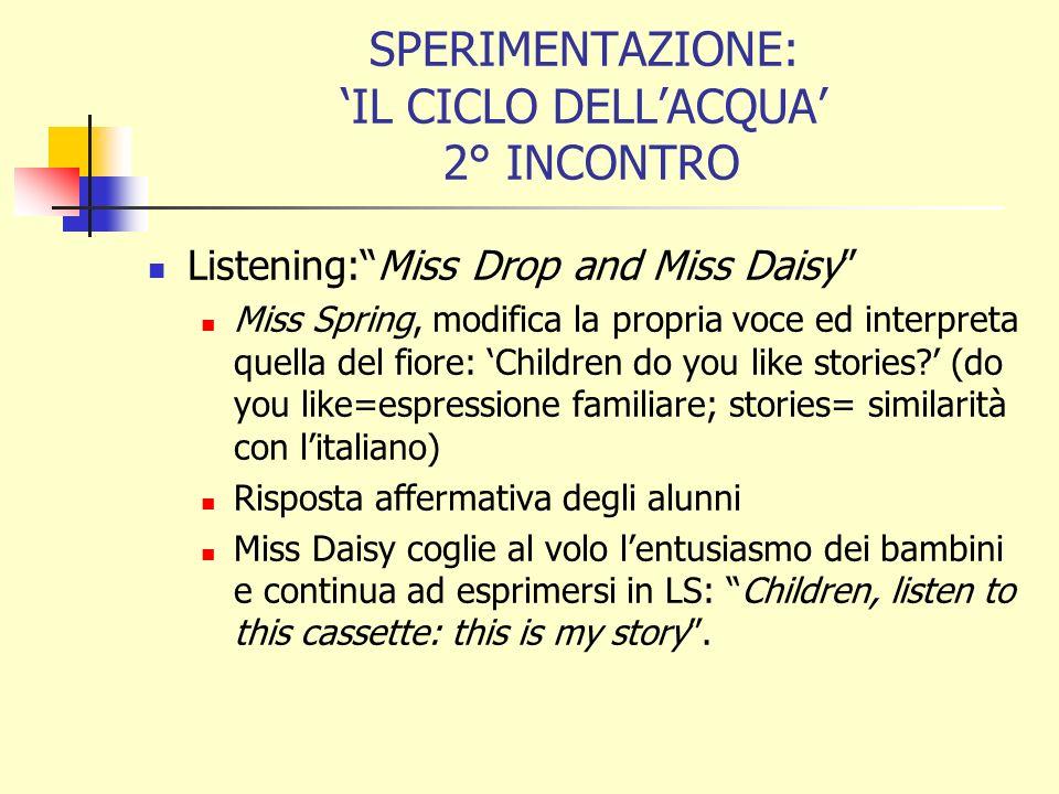 SPERIMENTAZIONE: IL CICLO DELLACQUA 2° INCONTRO Listening:Miss Drop and Miss Daisy Miss Spring, modifica la propria voce ed interpreta quella del fiore: Children do you like stories.