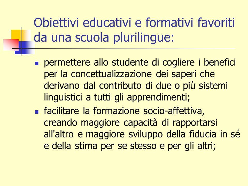 Obiettivi educativi e formativi favoriti da una scuola plurilingue: permettere allo studente di cogliere i benefici per la concettualizzazione dei sap