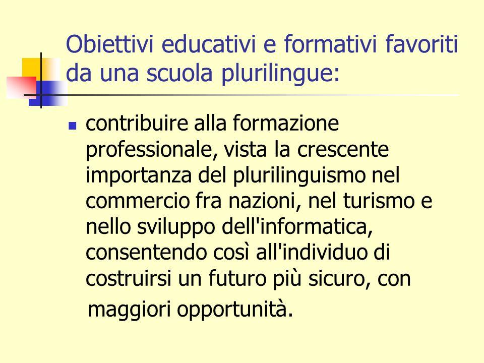 Obiettivi educativi e formativi favoriti da una scuola plurilingue: contribuire alla formazione professionale, vista la crescente importanza del pluri