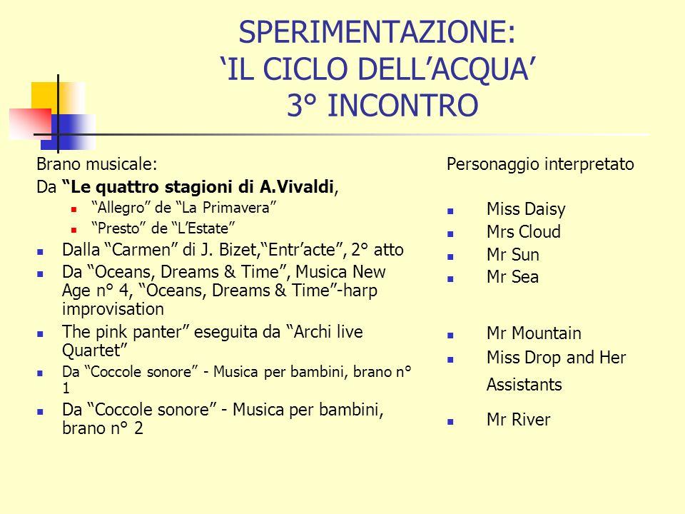 SPERIMENTAZIONE: IL CICLO DELLACQUA 3° INCONTRO Brano musicale: Da Le quattro stagioni di A.Vivaldi, Allegro de La Primavera Presto de LEstate Dalla Carmen di J.