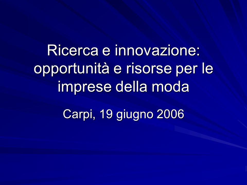 Ricerca e innovazione: opportunità e risorse per le imprese della moda Carpi, 19 giugno 2006